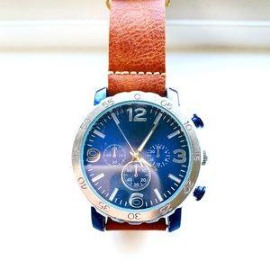 ⏱Men's Faux Chrono Watch w/ Brown Straps